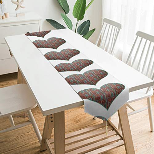 WOSITON Camino de mesa con forma de corazón hinchado, estilo nórdico, para banquetes de 90 x 13 pulgadas, el mejor regalo para el año nuevo a las familias, blanco 229 x 33 cm