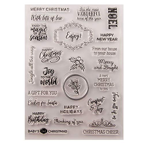 Merry Christmas Happy New Year Happy Birthday Verses Phrase Clear Stamps for Christmas Cards Making Decoration and Scrapbooking Rubber Stamps for Craft