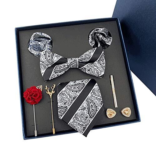 DYXYH Caja de Regalo Corbatas Personalizadas Gemelos Bowtie Conjuntos Corbatas Rayas para Hombres Bodas Party (Color : D)