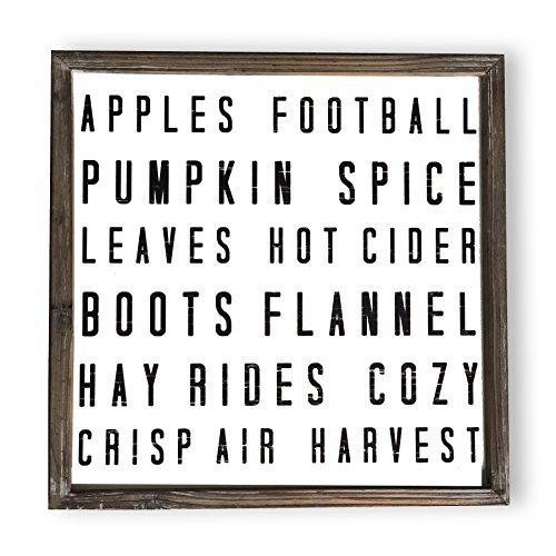 Sweet Water Decor Fall Words Wood Sign Fall Harvest Home Decor Rustic Farmhouse Wooden Wall Art Autumn Cottage Country Decor Pumpkin Spice Leaves Harvest Football (Fall Words)