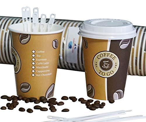 Gastro-Bedarf-Gutheil 100 Cafe to go Kaffeebecher Einwegbecher 300 ml Premium mit 100 Deckel Coffee to go Heissgetränkebecher + 100 Rührstäbchen, 14 cm Tee Pappbecher