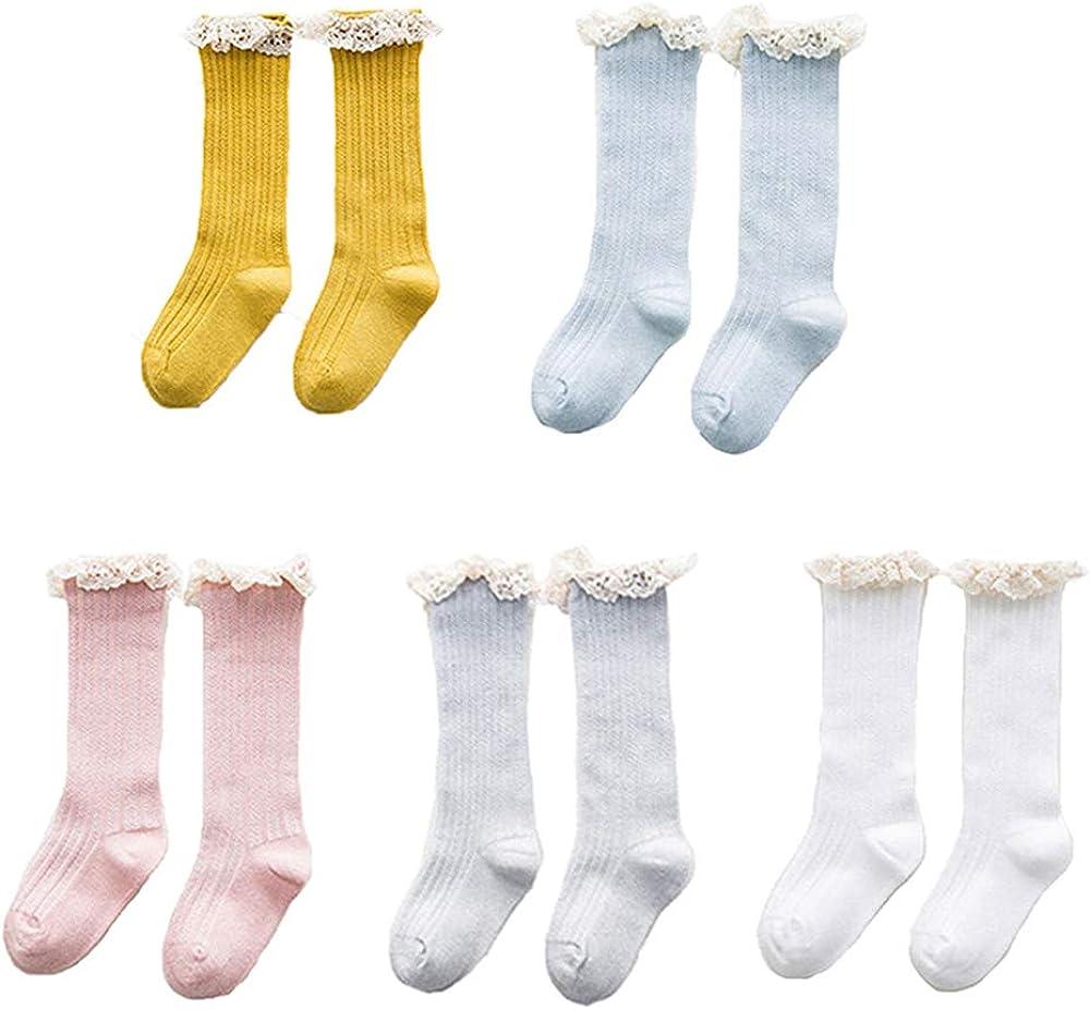 Udobuy 5 Pairs Baby Girls Princess Lace Laciness Stockings Knee High Socks Infant Knee High Socks Long Socks