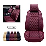 OASIS AUTO Leather Car Seat Covers, Faux Leatherette Automotive Vehicle Cushion Cover for Cars SUV Pick-up Truck Universal Fit Set for Auto Interior Accessories (OS-009 Front Pair, Burgundy)
