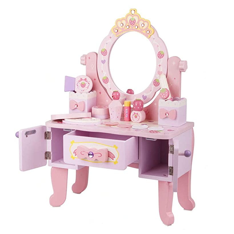Jajx-toy Kids Fantasy Vanity Dresser Table Vanity Makeup Table and Chair Set Pretend Beauty Make Up Stool Play Set for Children Pink with Mirror Fashion & Makeup Accessories