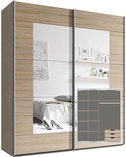 Webesto Kleiderschrank Schwebetürenschrank, ca. 200cm, inkl. 9 Einlegeböden, Türdämpfer für 2 Türen und 3X Schubladen Buche Spiegel