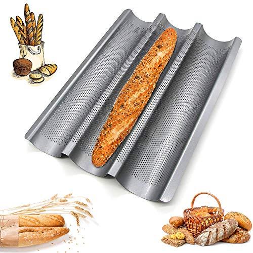 Bandeja Horno para Pan, Bandeja Perforada para Pan, Bandeja para Baguettes Molde, Moldes de Horno para Baguettes, para Colocar y Hornear 3 Baguettes Francesas (Plata)