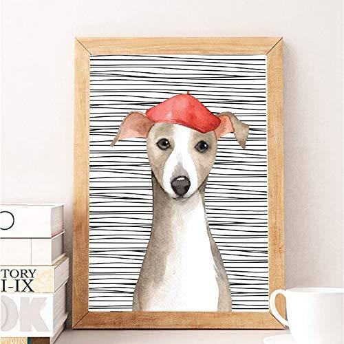 Modern gestreepte achtergrond cartoon hond poster schattige dier canvas schilderij HD print muurkunst afbeelding voor woonkamer decoratie frameloos