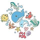 Cabilock Pegatina de pared con animales océanos bajo el mar, pelar y pegar, diseño marino de vida, para habitación infantil, cuarto de baño, guardería