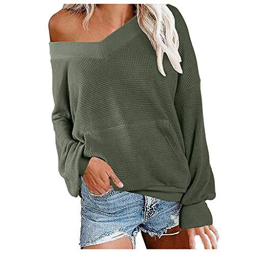 Tshirt Damen Langarm Tunika Pullover V-Ausschnitt Asymmetrischer Oberteile Shirt Langarmshirt Casual Sweatshirt (M,3- Grün)