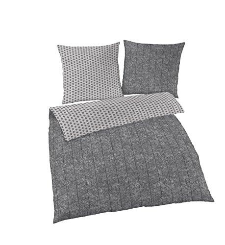 Träumschön Bettwäsche gestreift 135x200 | 2tlg Punkte Fein Biber Bettwäsche | Bettwäsche Grau | Bettwäsche aus 100% Baumwolle