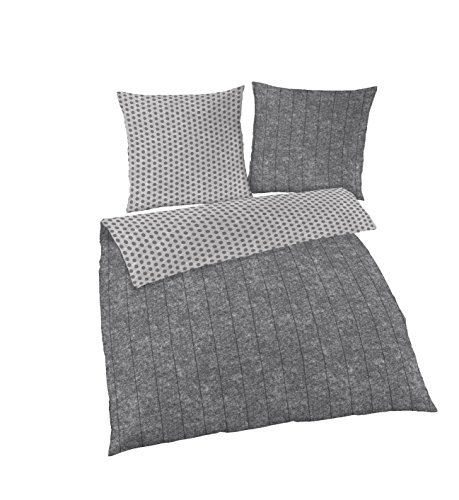 Träumschön Wende Bettwäsche Set 2tlg | Fein Biber Bettwäsche 155x 220 cm & Kissen 80x80 cm | Bettwäsche aus 100% Baumwolle | Wende Design Punkte