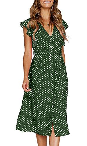 MITILLY Women's Summer Boho Polka Dot Sleeveless V Neck Swing Midi Dress with Pockets Medium Green