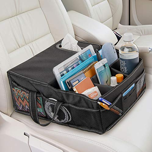 High Road Car Front Seat Organizer with Tissue Holder and Divided Storage Compartments
