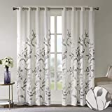 Madison Park Botanical Sheer Curtains for Bedroom, Modern Contemporary Linen Grommet Living Room, Nature Summer Fashion Panel, 50x84, Leaves Grey