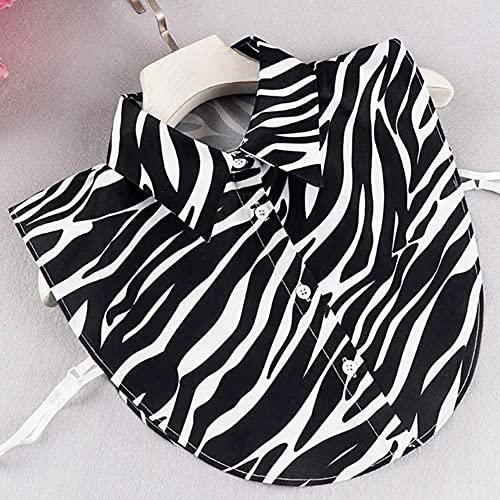 Collares desmontables Imitación Plus Tamaño XL Falso Cuello Solapa Tres Capas Blanco Cuello Falso Mujeres Cols Tie Shirt-Zebra