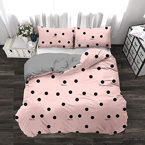 Artezxx Dekbedovertrekset, roze en zwarte stippen, 100% zacht en aangenaam microvezel, slaapcomfort, 1 dekbedovertrek met ritssluiting + 2 kussenslopen voor de slaapkamer