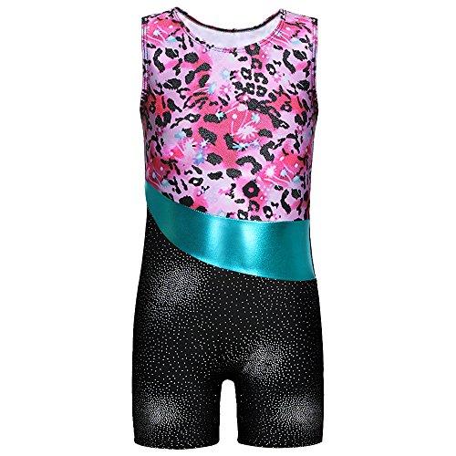 DAXIANG Mädchen Leuchtender Bunter Bedruckter Ärmelloser Tank Gymnastikanzug für Gymnastik Tanzen Ballett Costume(Green,100(3-4Y)
