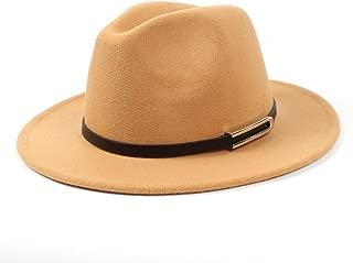 Fedora Cap Men Women Wool Fedora Hat Dance Party Hat Casual Wild Hat Panama Hat Size 56-58CM Felt hat (Color : Khaki, Size : 56-58)