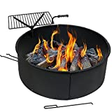 Sunnydaze Wood Burning Fire Pit - Campfire Ring with Cooking Grate and Fire Poker - 36 Inch Outdoor Camping Firepit - Heavy Duty 2mm Thick Steel - BBQ Grill