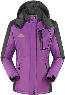 FYXKGLa Women's Winter Outdoor Jacket and Velvet Padded Cotton Waterproof Mountaineering Suit (Color : Purple, Size : XXL)