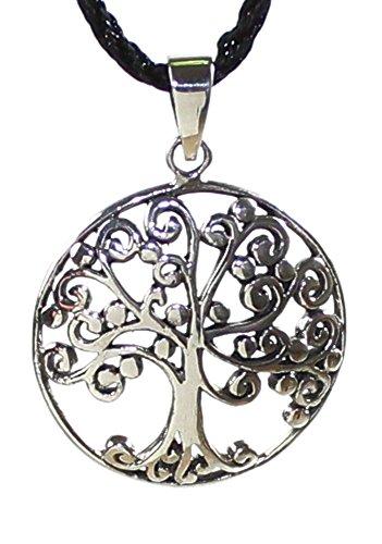 budawi® - Anhänger Lebensbaum 925er Sterling Silber, keltischer Lebensbaum Ø 26 mm, Kettenanhänger