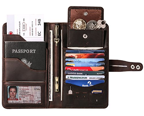 Travel Wallet with RFID Blocking Awesome Passport Wallet Credit Cards Holder Document Organizer Genuine Leather (Coffee)
