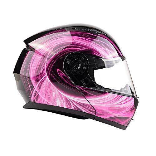 Typhoon TH158 Women's Modular Full Face Motorcycle Helmet Flip-Up Dual Visor DOT (Pink Large)