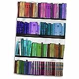 3dRose - Estantería de Libros de Colores arcoíris para Libros de Lectura, Biblioteca, Biblioteca, Toalla de Auto, Color Blanco, 38 x 55 cm