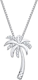 10k Gold or Sterling Silver Round Diamond Box Chain Palm Tree Pendant (1/10 cttw, J-K Color, SI2-I1 Clarity)