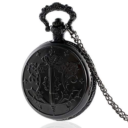 QFERWRelojes IBEINA Antiguo Butler Negro Reloj de Bolsillo del Cuarzo de la Vendimia del Collar Retro de la Cadena en los Relojes de Bolsillo y Fob de Relojes, Negro