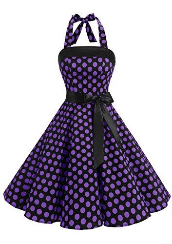 Timormode 10212 Vestido De Vintage Cóctel 50s Elegante Mujer con Cinturón Negro Violeta S