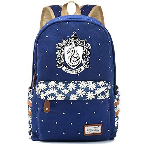 NYLY Dot Floral Bolsa de la escuela, mujeres bolso suave impermeable mochila portátil ligera Harry Potter bolsa de almuerzo Medio S-22