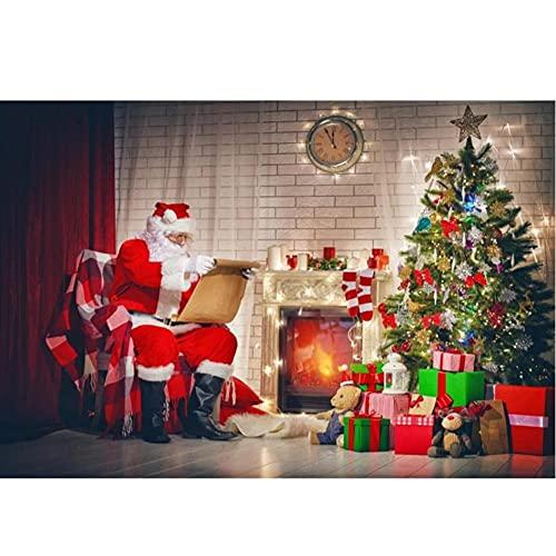 Feliz Navidad Festivales árbol Regalo Juguetes para bebés Chimenea Papá Noel Fiesta Foto de Fondo Foto telón de Fondo Estudio fotográfico-250x180cm