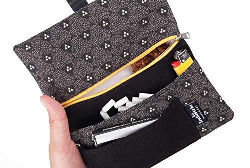 Borsello portatabacco con scomparti per tabacco, cartine, filtri e accendino - Astuccio porta tabacco di stoffa