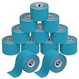ALPIDEX Cinta Kinesiología Tape 5 m x 5 cm Cinta Muscular E- Book Ejemplos Aplicación, Color:azul claro, Cantidad:12 rollos
