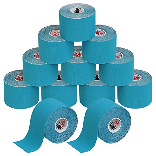BB Sport 12 Rollos Cinta Kinesiología Tape 5 m x 5 cm Cinta Muscular E- Book Ejemplos Aplicación, Color:azul claro