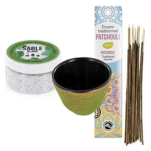 Les Encens du Monde Porta incenso in ghisa Verde e Sabbia Bianca + Incenso Indiano con Patchouli