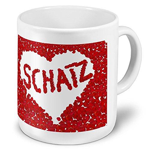 """XXL Riesen-Tasse mit Namen """"Schatz"""" - Jumbotasse mit Design Blumenherz - Namens-Tasse, Kaffeebecher, Becher, Mug"""