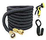 WHOLEV Flexibler Gartenschlauch, 50ft/15M Flexischlauch, Wasserschlauch Extra Strength Fabric 5000D, High Temperature Latex and Solid Brass Connector for Car Garden House, Free 9 Funtions Hose Nozzle
