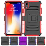 iPhone XR Stand Case, HLCT Rugged Shock Proof Dual-Layer Case with Built-in Kickstand (Red)