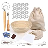 Cesta redonda para prueba de pan, cesta de prueba Banneton, 9 pulgadas con paquete de 6 herramientas para hornear, forro de tela, bolsa de pan, cojo, batidor, raspador, 16 plantillas de decoración
