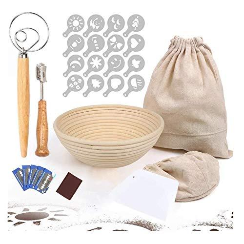 Cesto rotondo modello Banneton per la lievitazione del pane, 22,9 cm con 6 attrezzi da forno, rivestimento in tessuto, sacchetto per pane, frusta, raschietto, 16 stencil decorativi