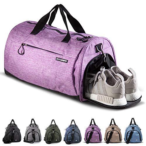 Fitgriff® Bolsa Deporte - Mujer & Hombre - Macuto con Zapato y Compartimento Húmedo - de Gimnasio, Viaje, Gym, Fitness, Sport - Duffel Bag (Purple, Small)