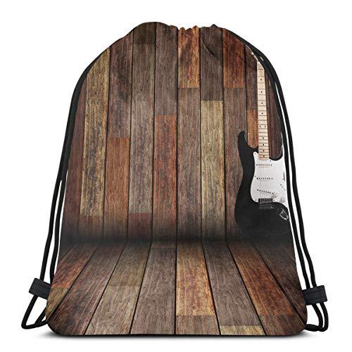 YUDILINSA Mochila con Cordón Mochila Bolsa Bolsa de Gimnasio,Guitarra eléctrica en la Sala de Madera Country House Interior Music Theme,Bolsa de Kit de Saco de Gimnasia Bolsa de Natación para Unisex