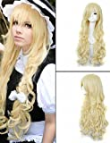 xzl Pelucas de la manera moda gosick Victorique de Blois 150cm larga peluca rubia de anime cosplay sintética ondulada