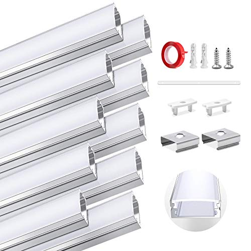 HOMMAND 10 Piezas x1m/3,3 pies Canal de aluminio LED, Perfil para Tiras de LED, Tapa Tira LED con tapas finales, Clips de montaje y adhesivo, 10 Paquete Perfil de Aluminio para LED de 10m (forma de U)