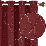 Deconovo Cortinas Opacas Modernas con Líneas Plateada para Habitacion con Ojales 140 x 175 cm Rojo Oscuro