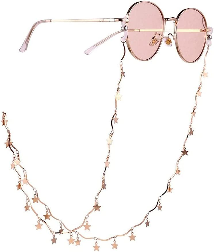 CFSNCM Five-pointed Star Wave Chain Lanyard Reading Glasses Chains Women Accessories Men Sunglasses Hold Straps Cords (Color : Gold, Size : Length-70CM)
