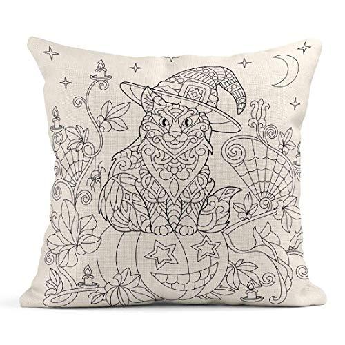 Dekokissen Halloween Malvorlagen Katze im Hut Kürbis Spinne Laternen Kerzen Mond und Sterne Freihand Skizze Zeichnung Leinen Kissen Home Dekorative Kissen