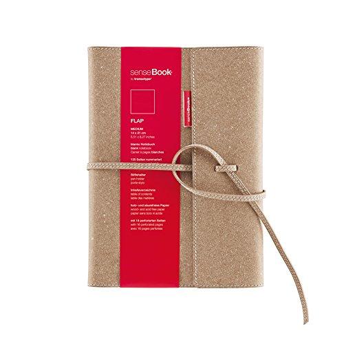 transotype senseBook FLAP Design Notizbuch refillable, medium - ca. A5, blanko, weitere Varianten auswählbar, mit Klappe und Schnürung, edles Rinderleder